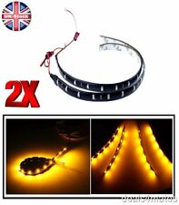 2 X 30CM 18 LED 3528 SMD AMBER FLEXIBLE DRL STRIP LIGHT WATERPROOF CAR DECOR