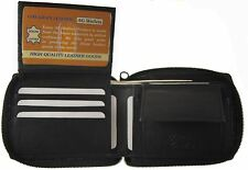 Genuine Leather Mens Zipper Zip-Around Organizer Bifold Wallet Coin pocket Black