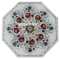 """22"""" White Marble Center Coffee Table Top Marquetry Multi Stone Inlay Home Decor"""