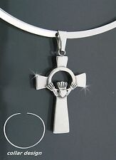 316 L Stainless Steel Claddagh Cross Pendant w/Collar