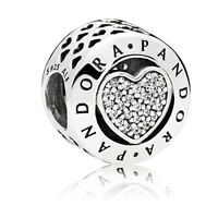 Original PANDORA Element Silber Bead 796218CZ Charm PANDORA Logo Herz