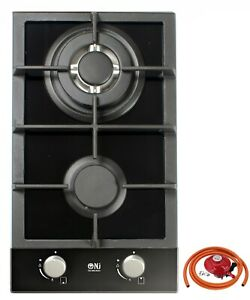 Built In Gas Stove Double Cooker 2 Burner Black Glass Hob FFD 30cm Domino-302G