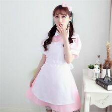 1pc Lolita Girls Maid Waitress Dress Cosplay Fancy Dress Uniform Outfit Pink