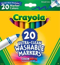 Crayola Ultra Clean Washable Markers 20 Count Box Broad Line New