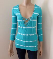 NEW Hollister Womens Striped Top Size XS Shirt Hoodie 3/4 Sleeve Turquoise Green