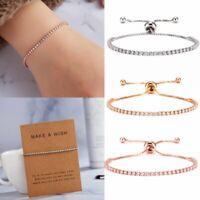 CZ Crystal Silver Gold Slider Bracelet Adjustable Bangle Women Card Jewelry Gift