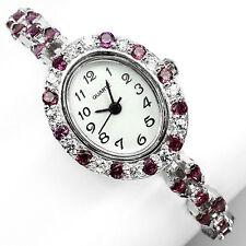 Argent sterling 925 superbe rhodolite grenat et lab diamond watch 7 pouces