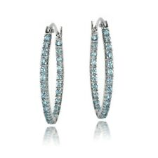 925 Silver Inside Out Aquamarine CZ 22mm Oval Hoop Earrings