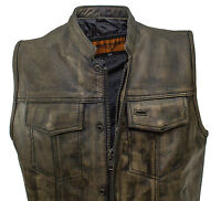 MEN'S MOTORCYCLE SON OF ANARCHY DISTRESSED LEATHER VEST WITH 2 GUN POCKETS NEW
