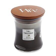 WoodWick Candle Warm Woods Trilogy Scented Fragrance Glass Jar 10oz Medium