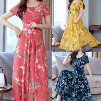 Women Summer Mid-Calf Short Sleeve Print Dress Beach O Neck Casual Sundress Plus