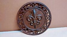 Round Fleur De Lis Plaque of Cast Iron Brown