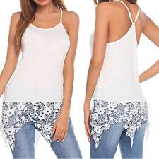 USA Women's Sexy Summer Spaghetti Strap Vest Blouses Lace Trim Shirts Tank Tops