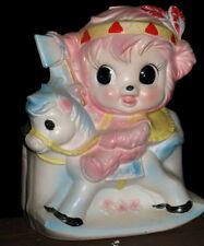 VTG Napco *BIG EYE PINK BEAR INDIAN ON HORSE PLANTER/ VASE* Girl Figurine JAPAN