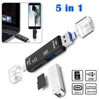 5 in 1 USB 3.0 Type C / USB / Micro USB SD TF Memory Card Reader OTG Adapter
