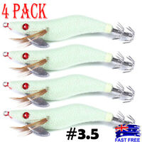 4x GLOW Squid Jigs Egi #3.5 Calamari Arrow #3.5 Shrimp Jap Jig Fishing Lures