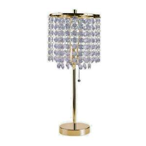 LED LIGHT Hollywood Deco Glam Crystal-Like GOLD finish Table Lamp -ORE 8315G