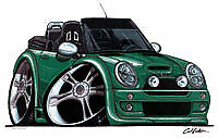New Mini Cooper Convertible Cartoon car t-shirt - Green Car image on white shirt