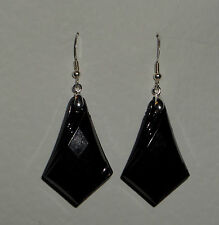 ART DECO STYLE BLACK FACETED SPEAR EARRINGS ACRYLIC CRYSTAL SILVER PLATED