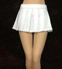"""1/6 White Pleated Skirt High Waist Dress Schoolgirl for 12"""" Female Figure Model"""