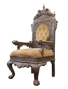 Antique Chair Throne Wood On Silver Hand Carved Royal Lions Antiques Furniture
