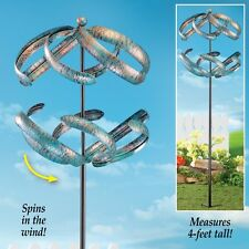 Spiral Double Wind Spinner Yard Stake Spinning Metal Decoration Garden Windmill