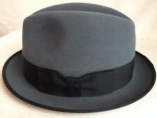 BROOKLYN FUR BY CHRISTYS' LONDON HATS GRAY FEDORA BOXED S SMALL 55cm 6 7/8