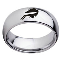 Buffalo Bills Football Team Stainless Steel Silver Men's Ring Band Size 6-13