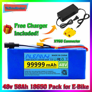 Ebike Battery 48v 99.999ah 1500w Pack Charger Lithium Ion High Power Bat E Bike