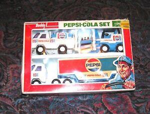 Vintage Buddy L Pepsi-cola PEPSI TRUCK FORKLIFT DELIVERY GOOD SHAPE COOL SET!