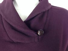 LRL Ralph Lauren Womens Small Long Sleeve Top Plum Purple Shawl Collar Shirt