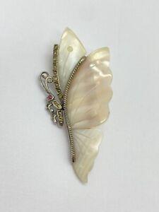 Sterling Silver 925 & Marcasite Butterfly Brooch Pin w/MOP Shell Wings (READ)