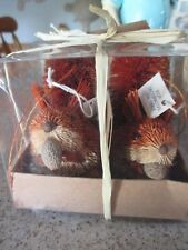 Nib Danny Seo Set of 2 Bottle Brush Red Squirrels Hand Crafted Philipines-Fall!