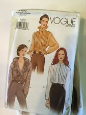 Vogue Vintage Sewing Pattern 7507 size 14 16 18 Ruffle Pleated Shirt
