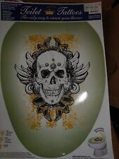 Toilet Tattoos TT-1116-O Skull Grunge Decorative Applique for Toilet Lid Elon...
