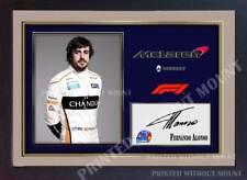 Fernando Alonso Fórmula 1 impresión foto Poster Enmarcado Firmado Autógrafo GP (MDF)