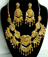 Indian Wedding Bollywood Designer Gown Skirt Jewelry 22KGP Necklace Earring #236