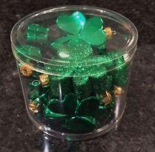 St. Patrick's Day Glitter & Shiny Green Shamrock Ornaments Set of 8 (Free Ship)