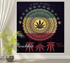 In Weed We Trust Rasta Dye Cannabis Wall Hanging Marijuana Dreamcatcher Tapestry