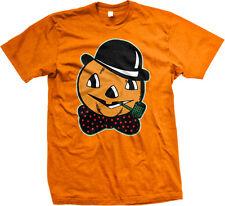 Halloween Pumpkin Head Fall Bowler Hat Jack-O-Lantern Corn Cob Pipe Mens T-shirt