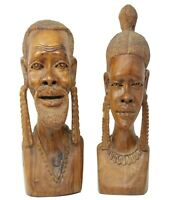 Vintage African Hand Carved Wood Sculptures MAN WOMAN Busts Statues Set 15.5""