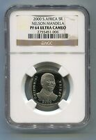 NGC S.Africa 2000 (5R) PF 64 Ultra Cameo Proof South Africa Nelson Mandela Coin