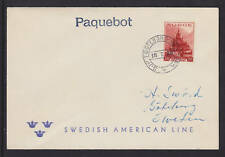 Norway Sc 182 on 1938 PAQUEBOT Cover, Swedish American Line
