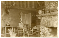 RPPC NY Adirondacks Newcomb Camp Interior Moose Head Hickory Chairs Essex County