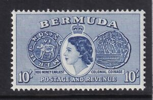 QEII Bermuda. 1953 issue unmounted mint (MNH) 10/- stamp. Very Fine.