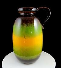 "SCHEURICH KERAMIK #484-27 GREEN YELLOW BROWN HANDLED 10 3/8"" PITCHER VASE 1960's"