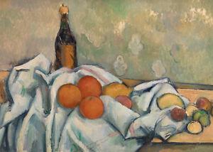 Bottle and Fruits by Paul Cézanne 60cm x 43cm Art Paper Print