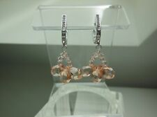 Light Orange Faceted Crystal Drop Earring Sterling Silver Pave Leverback EarWire