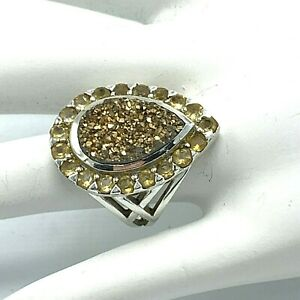 Passage to Israel PTI Sterling Silver Gold Druzy Citrine Ring Size 7