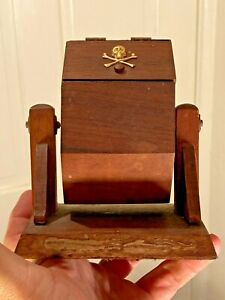 VINTAGE Antique I.O.O.F ODD FELLOWS LODGE Masonic Ballot Box Skull & Bones
